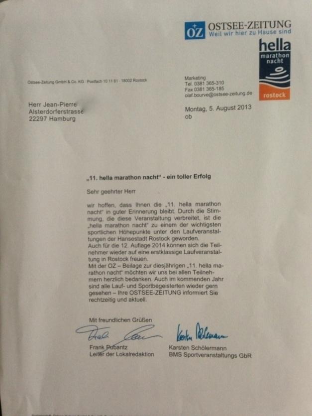 Un plus, la lettre de félicitation reçue de la part de l'organisation