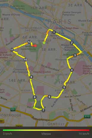 Le parcours d'un peu plus de 12kms dans le sud de la capitale